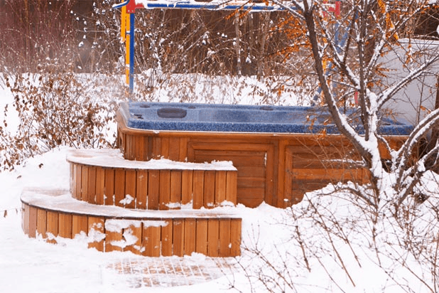 winter hot tub play time